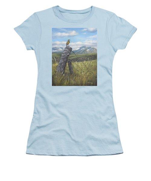 Meadowlark Serenade Women's T-Shirt (Junior Cut) by Kim Lockman