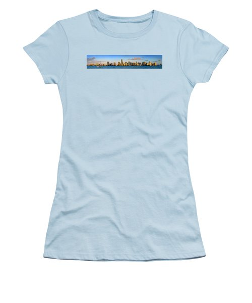 Miami Skyline In Morning Daytime Panorama Women's T-Shirt (Junior Cut) by Jon Holiday