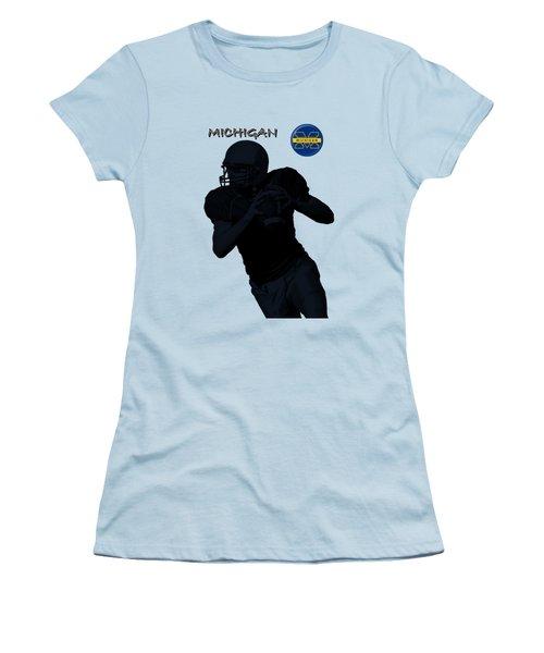 Michigan Football  Women's T-Shirt (Junior Cut) by David Dehner