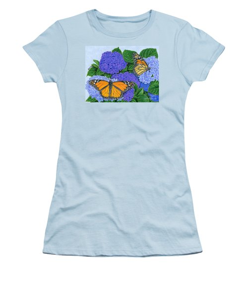 Monarch Butterflies And Hydrangeas Women's T-Shirt (Junior Cut) by Sarah Batalka