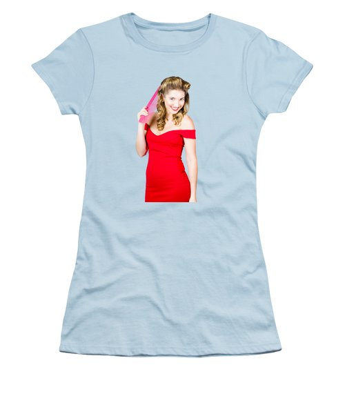 Pin-up Styled Fashion Model With Classic Hairstyle Women's T-Shirt (Junior Cut) by Jorgo Photography - Wall Art Gallery