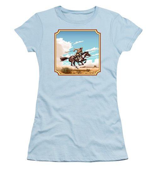 Pony Express Rider - Western Americana - Square Format Women's T-Shirt (Junior Cut) by Walt Curlee
