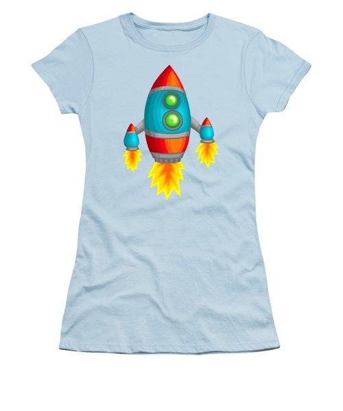 Retro Rocket Women's T-Shirt (Junior Cut) by Brian Kemper