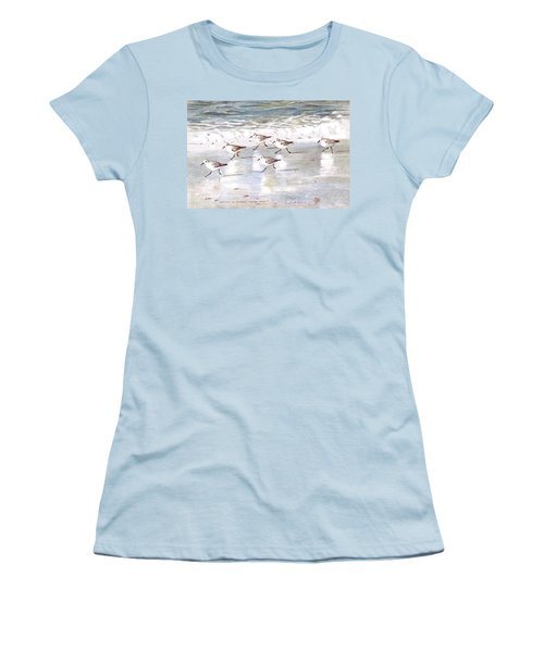 Sandpipers On Siesta Key Women's T-Shirt (Junior Cut) by Shawn McLoughlin