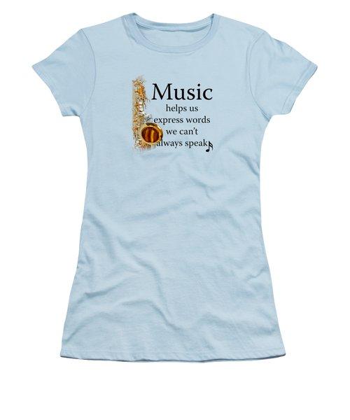 Saxophones Express Words Women's T-Shirt (Junior Cut) by M K  Miller