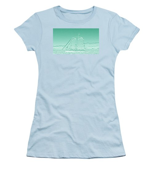 Schooner On New York Harbor No. 3-3 Women's T-Shirt (Junior Cut) by Sandy Taylor