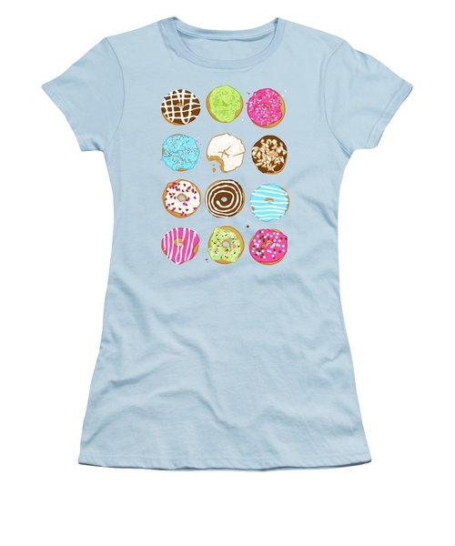 Sweet Donuts Women's T-Shirt (Junior Cut) by Evgenia Chuvardina