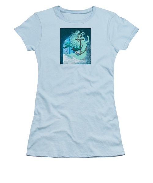 The Mermaid The Anchor And School Of Fish In The Underwater Ruins Women's T-Shirt (Junior Cut) by Sandra McGinley