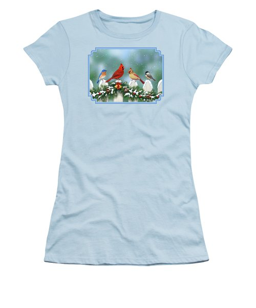 Winter Birds And Christmas Garland Women's T-Shirt (Junior Cut) by Crista Forest