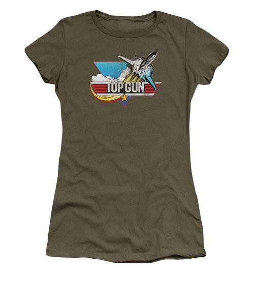 Top Gun - Distressed Logo Women's T-Shirt (Junior Cut) by Brand A