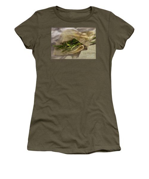 Green Asparagus On Burlab Women's T-Shirt (Junior Cut) by Iris Richardson