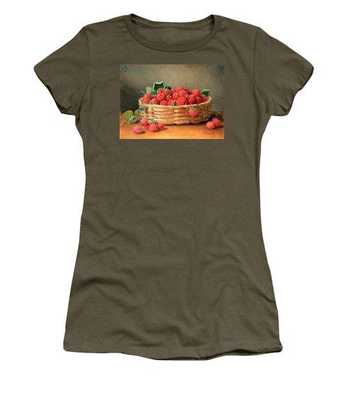 A Still Life Of Raspberries In A Wicker Basket  Women's T-Shirt (Junior Cut) by William B Hough