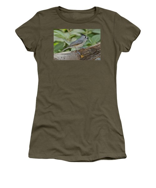 Black-crested Titmouse Women's T-Shirt (Junior Cut) by Anthony Mercieca