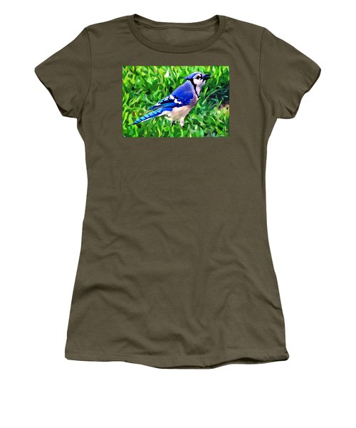 Blue Jay Women's T-Shirt (Junior Cut) by Stephen Younts