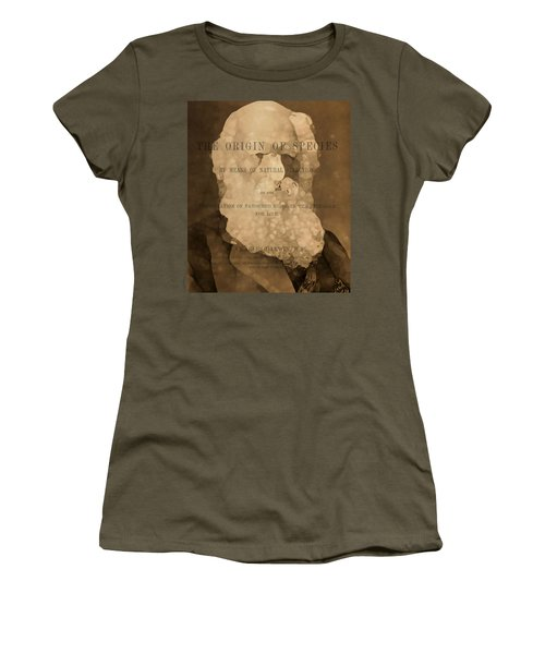 Charles Darwin The Origin Of Species Women's T-Shirt (Junior Cut) by Dan Sproul