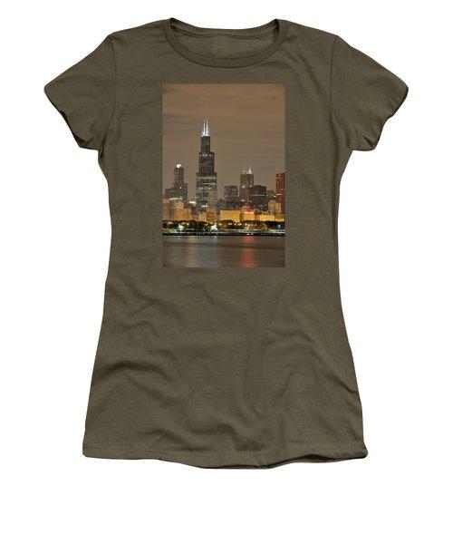 Chicago Skyline At Night Women's T-Shirt (Junior Cut) by Sebastian Musial