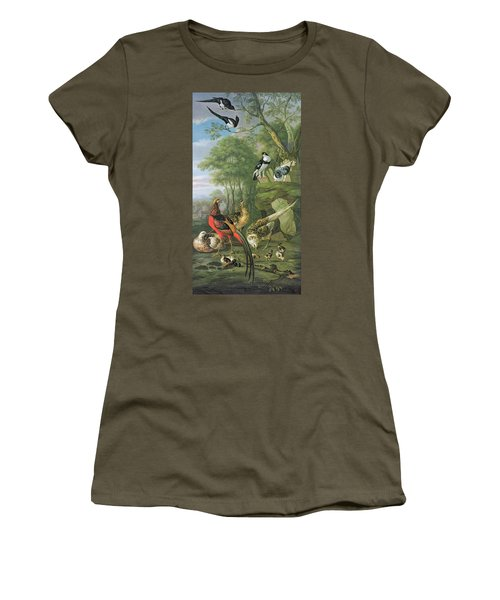 Cock Pheasant Hen Pheasant And Chicks And Other Birds In A Classical Landscape Women's T-Shirt (Junior Cut) by Pieter Casteels