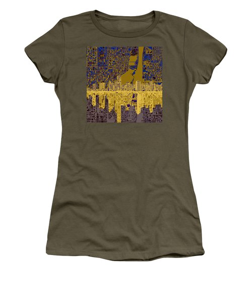 Miami Skyline Abstract 3 Women's T-Shirt (Junior Cut) by Bekim Art
