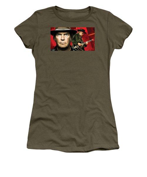 Neil Young Artwork Women's T-Shirt (Junior Cut) by Sheraz A