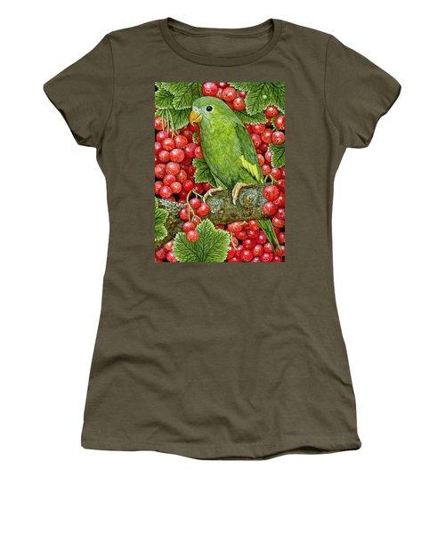 Redcurrant Parakeet Women's T-Shirt (Junior Cut) by Ditz