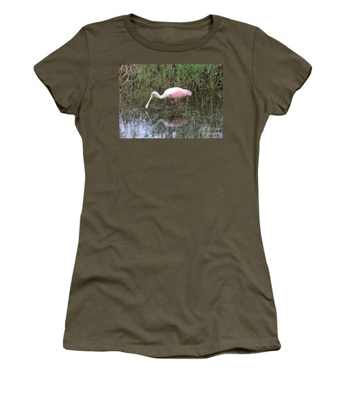 Roseate Spoonbill Reflection Women's T-Shirt (Junior Cut) by Carol Groenen