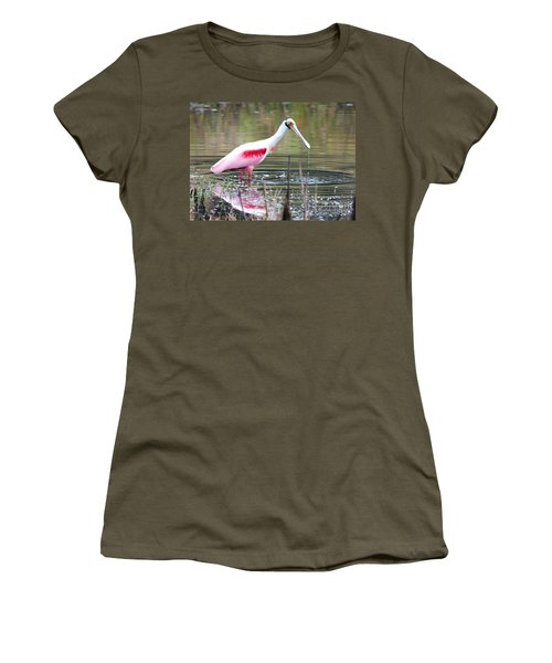 Spoonbill In The Pond Women's T-Shirt (Junior Cut) by Carol Groenen