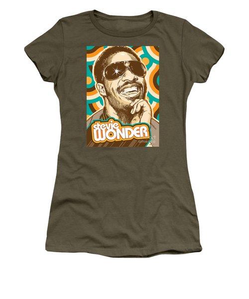 Stevie Wonder Pop Art Women's T-Shirt (Junior Cut) by Jim Zahniser