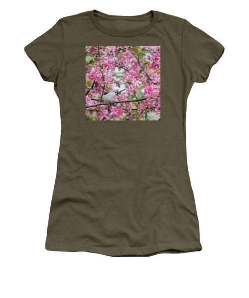 Tufted Titmouse In A Pear Tree Square Women's T-Shirt (Junior Cut) by Bill Wakeley