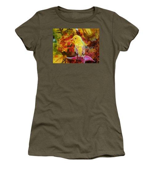 Yellow Bird Women's T-Shirt (Junior Cut) by Catf
