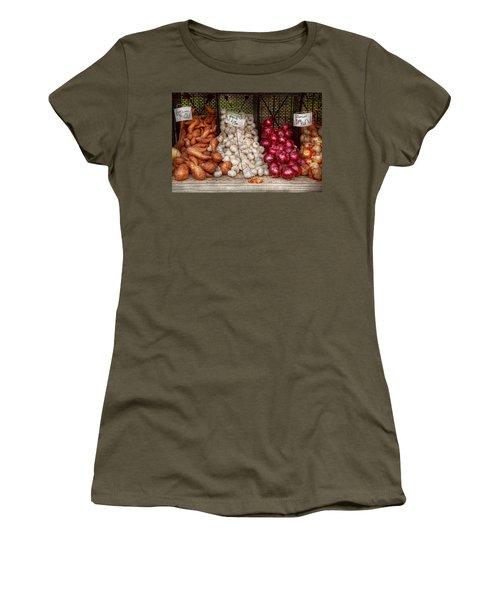 Food - Vegetable - Sweet Potatoes-garlic- And Onions - Yum  Women's T-Shirt (Junior Cut) by Mike Savad