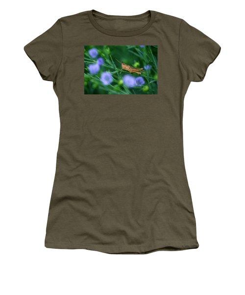 Grasshopper Women's T-Shirt (Junior Cut) by Mike Grandmailson