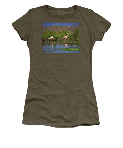 Roseate Spoonbills Women's T-Shirt (Junior Cut) by Louise Heusinkveld
