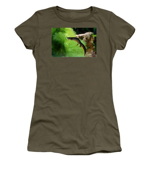 Alpine Newt Triturus Alpestris Women's T-Shirt (Junior Cut) by Gerard Lacz