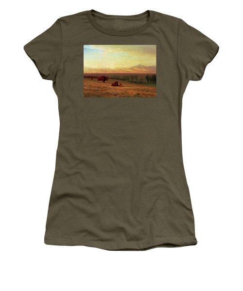 Buffalo On The Plains Women's T-Shirt (Junior Cut) by MotionAge Designs