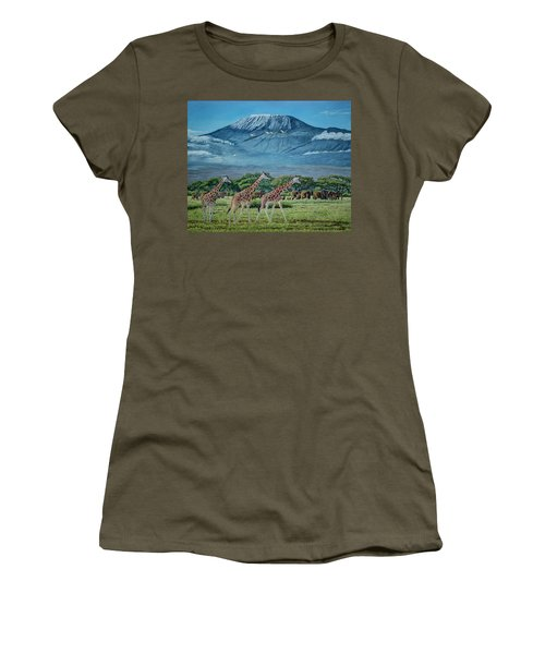 African Giants At Mount Kilimanjaro, Original Oil Painting 48x60 In On Gallery Canvas Women's T-Shirt (Junior Cut) by Manuel Lopez