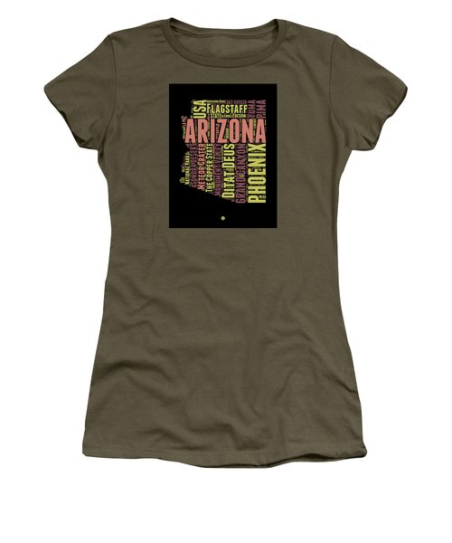 Arizona Word Cloud Map 1 Women's T-Shirt (Junior Cut) by Naxart Studio