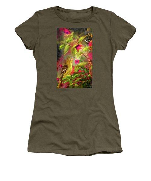 Baltimore Oriole Art- Baltimore Female Oriole Art Women's T-Shirt (Junior Cut) by Lourry Legarde