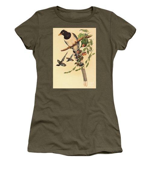 Blue Magpie, Urocissa Magnirostris Women's T-Shirt (Junior Cut) by John Gould