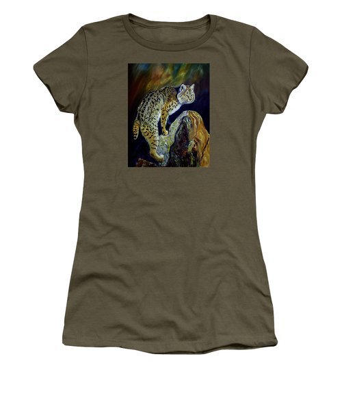 Bobcat At Sunset Original Oil Painting 16x20x1 Inch On Gallery Canvas Women's T-Shirt (Junior Cut) by Manuel Lopez