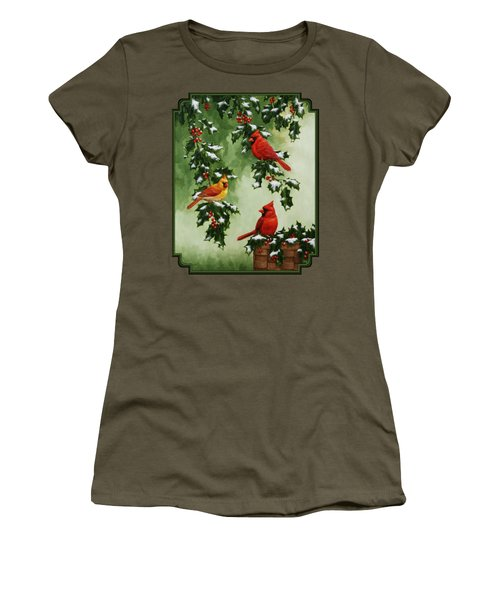 Cardinals And Holly - Version With Snow Women's T-Shirt (Junior Cut) by Crista Forest