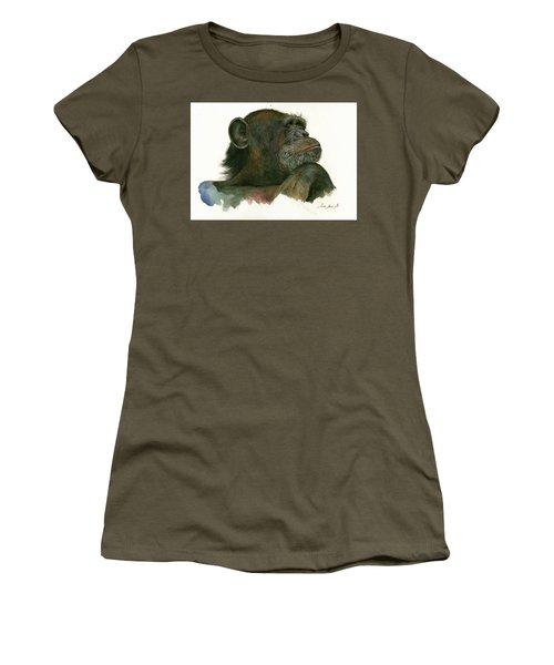 Chimp Portrait Women's T-Shirt (Junior Cut) by Juan Bosco
