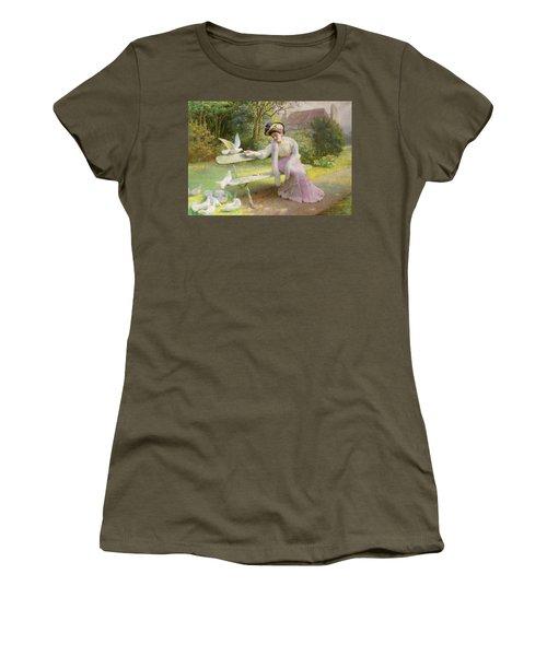 Feeding The Doves  Women's T-Shirt (Junior Cut) by Edmond Alphonse Defonte