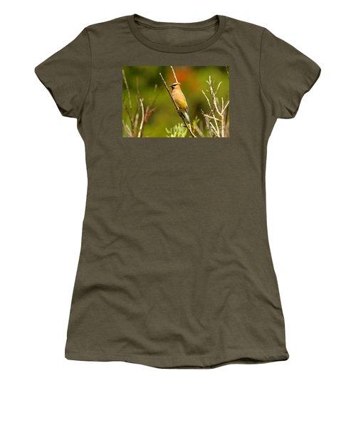 Fishercap Cedar Waxwing Women's T-Shirt (Junior Cut) by Adam Jewell