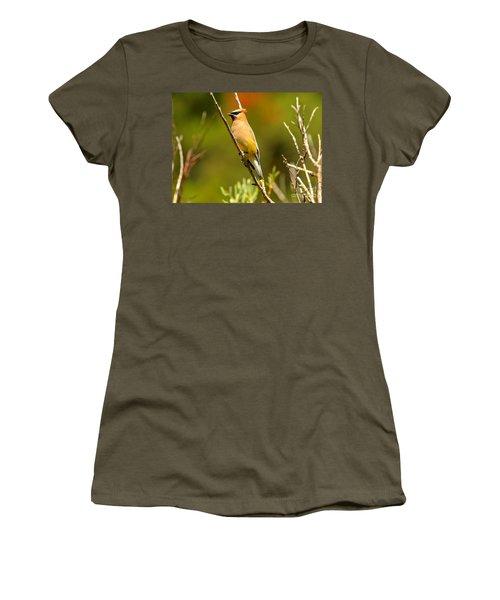 Glacier Cedar Waxwing Women's T-Shirt (Junior Cut) by Adam Jewell