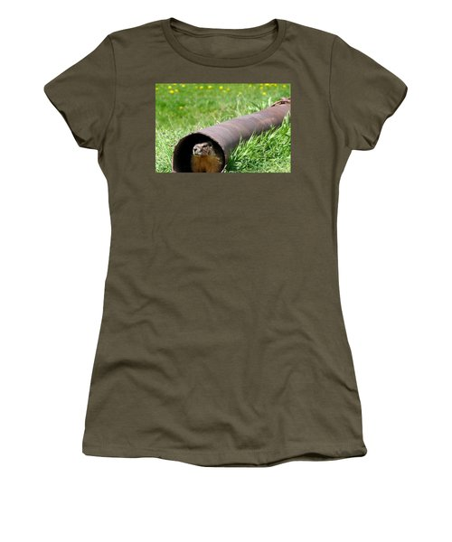 Groundhog In A Pipe Women's T-Shirt (Junior Cut) by Will Borden