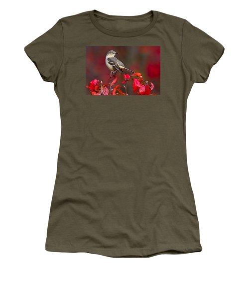 Mockingbird On Red Women's T-Shirt (Junior Cut) by William Jobes