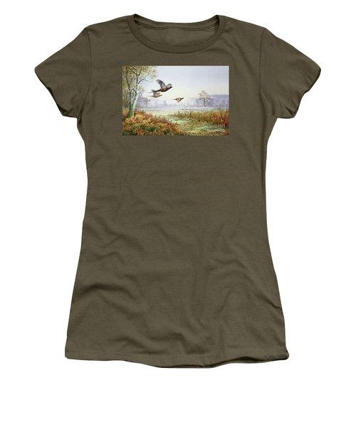 Pheasants In Flight  Women's T-Shirt (Junior Cut) by Carl Donner