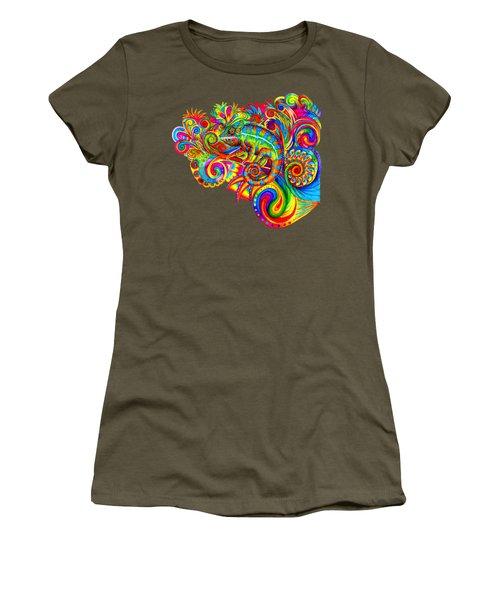 Psychedelizard Women's T-Shirt (Junior Cut) by Rebecca Wang