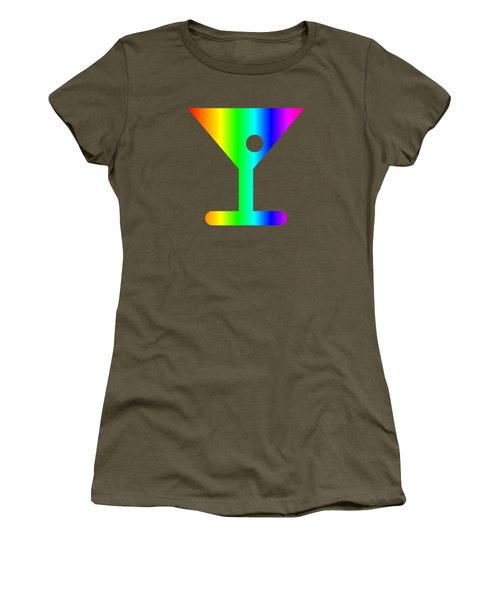 Rainbow Martini Glass Women's T-Shirt (Junior Cut) by Frederick Holiday