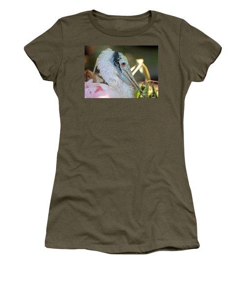 Roseate Spoonbill Profile Women's T-Shirt (Junior Cut) by Carol Groenen